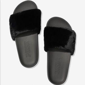 Victoria's Secret PINK Faux Fur Single Strap Slide